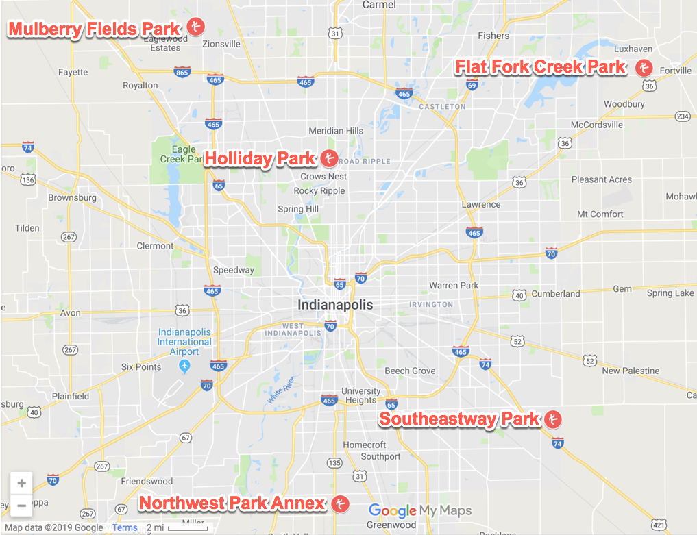 Map of Top 5 Creeks to Stomp Around Indy